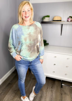 Fun casual tie dye in pretty blues and greens