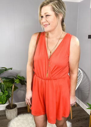 Our coral romper has all the comfort and amazing style!