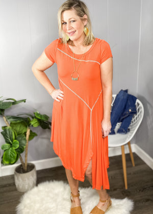 Fun coral dress at L.E & CO boutique, a boutique for women