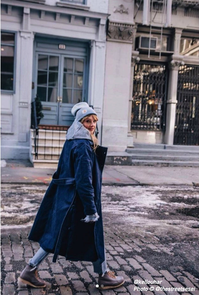 indigo blue japanese denim trench coat timeless design belgian brand new york fashion week FAÇON JACIN