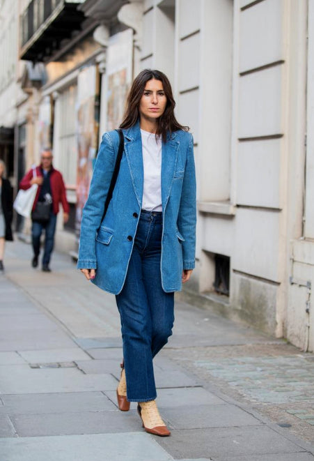 Denim blazer jeans paris fashion week