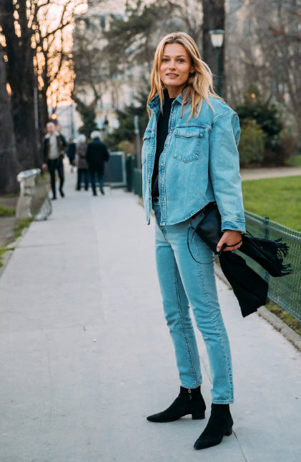 Denim on denim outfit paris fashion week