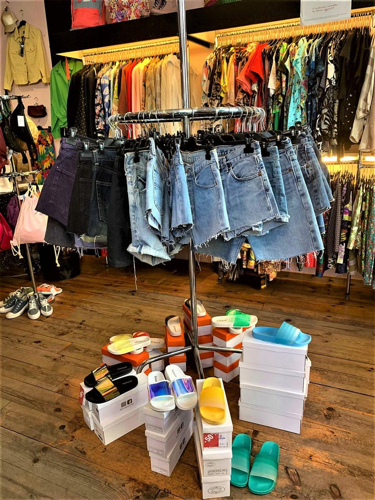 Foxhole vintage store in Brussels denim shorts