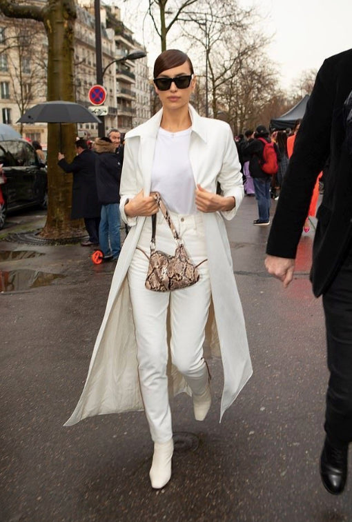 Irina Shayk white denim white jeans paris fashion week