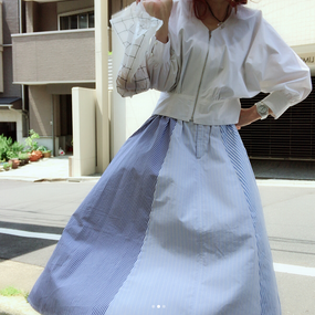 Our cotton skirt caught in the wind