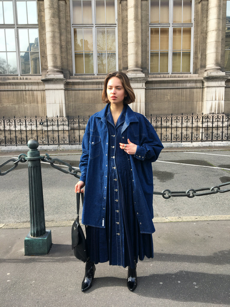 Nina Dancet denim dress paris fashion week