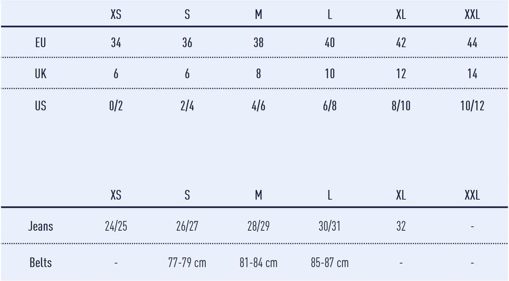 façon jacmin size guide - measurements table