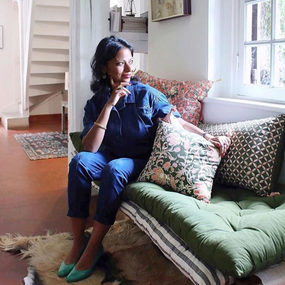 Usha wearing indigo denim