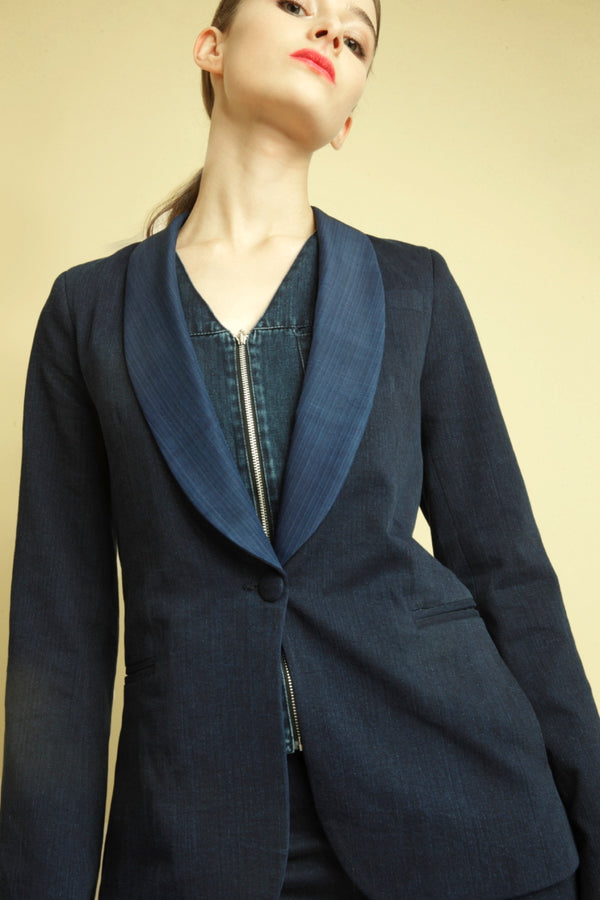 denim jacket japanese denim blazer silk blend women's fashion indigo blue FAÇON JACMIN