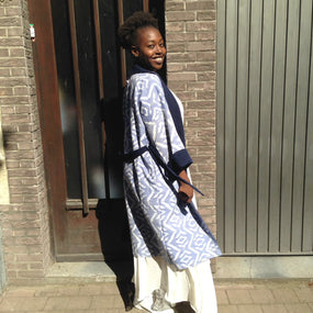 Our Reversible Ikat Kimono on a sunny day