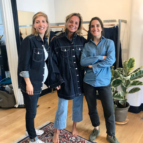 The twins with a lovely client in the Brussels studio
