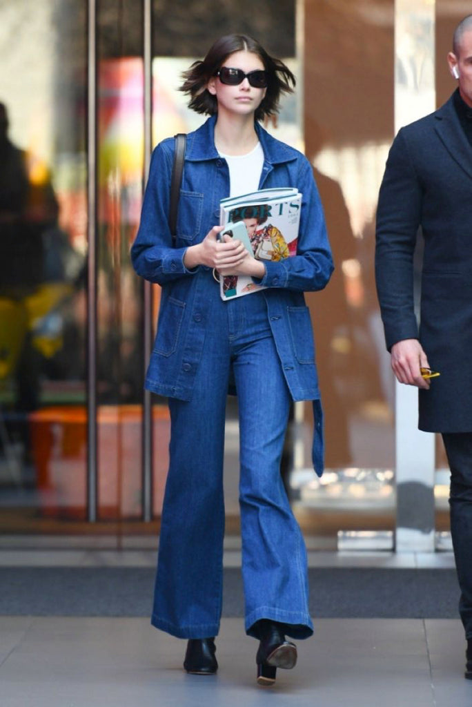 Kaia Gerber Paris fashion week denim on denim outfit
