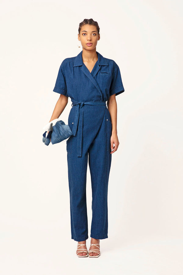 Claudia blue jeans jumpsuit crossover