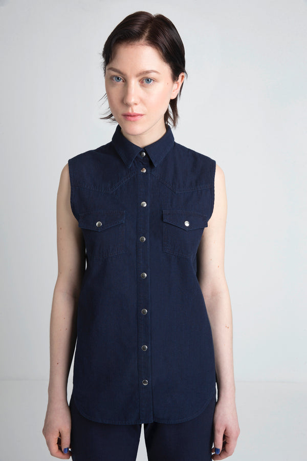 Colette women's sleeveless denim shirt deep blue