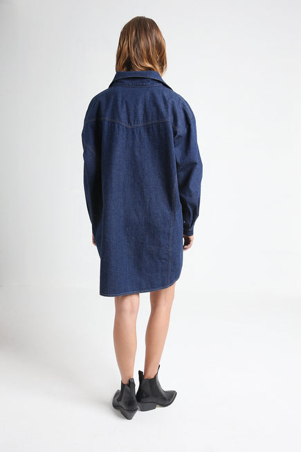 GLORIA navy blue denim shirt dress