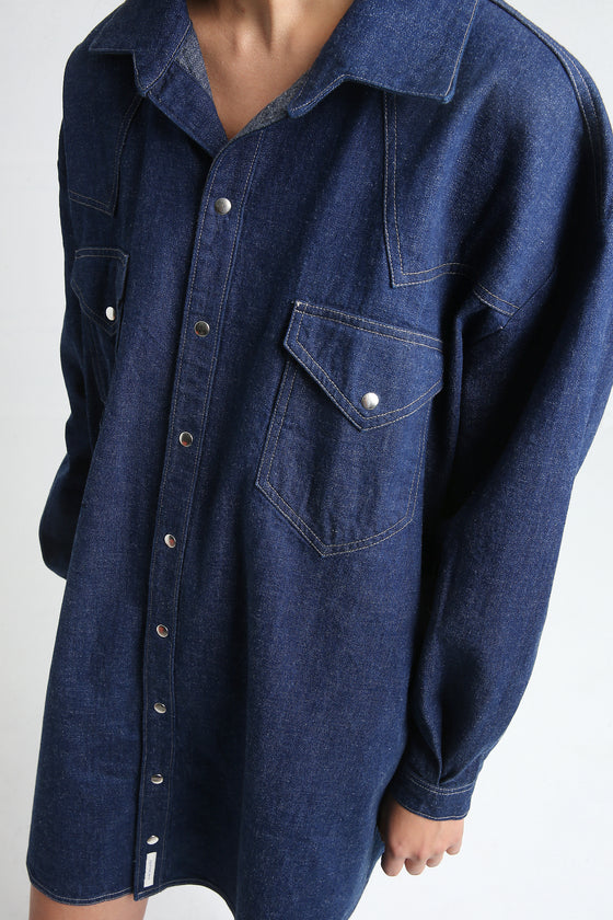 GLORIA denim shirt dress navy blue