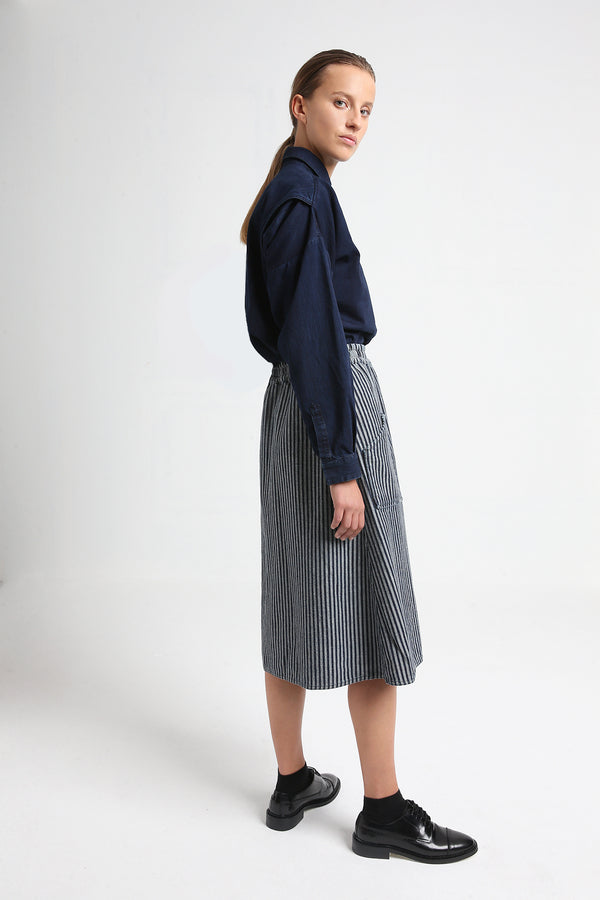 JOY reversible denim skirt with stripes