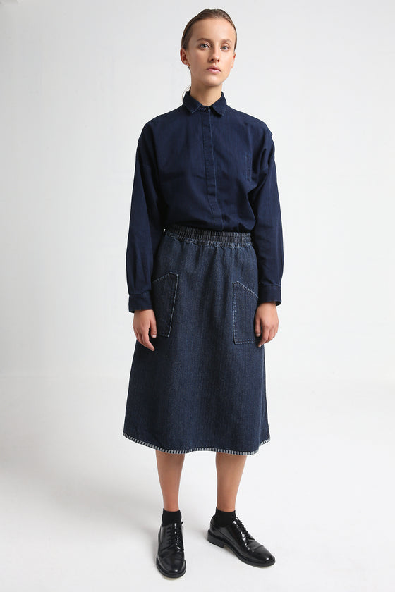 JOY indigo blue elastic denim skirt