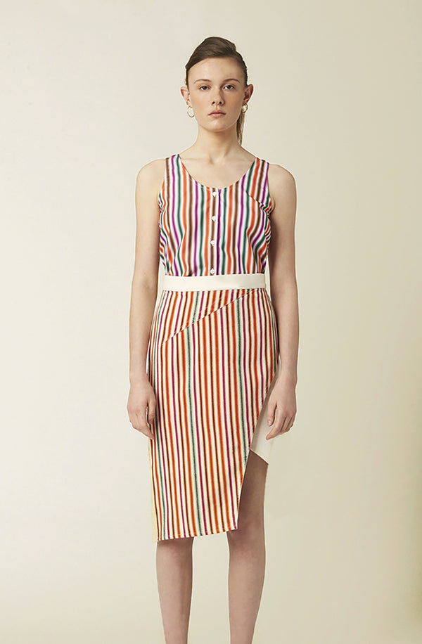 Jovoy asymmetrical ecru with multicolor stripes skirt spring summer collection
