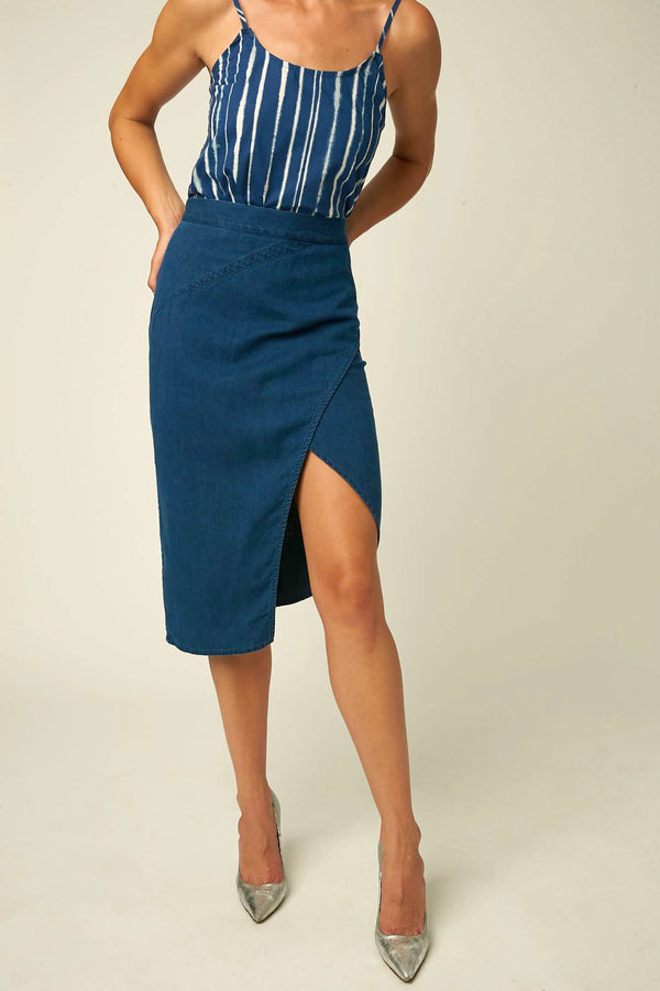 Jovoy asymmetrical dark blue skirt