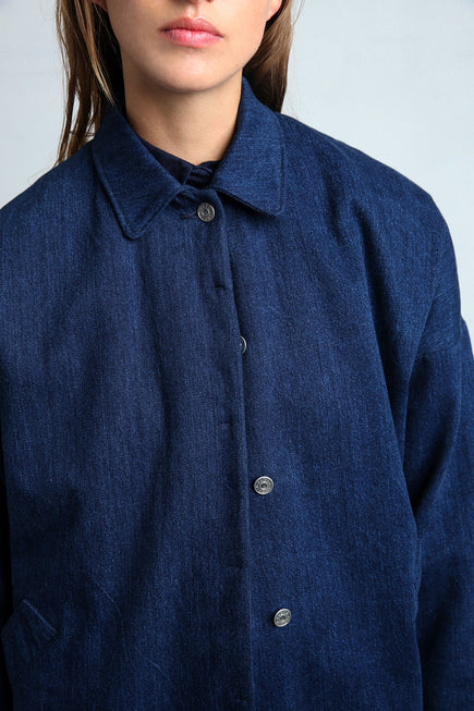 MAGNOLIA long denim coat collar details