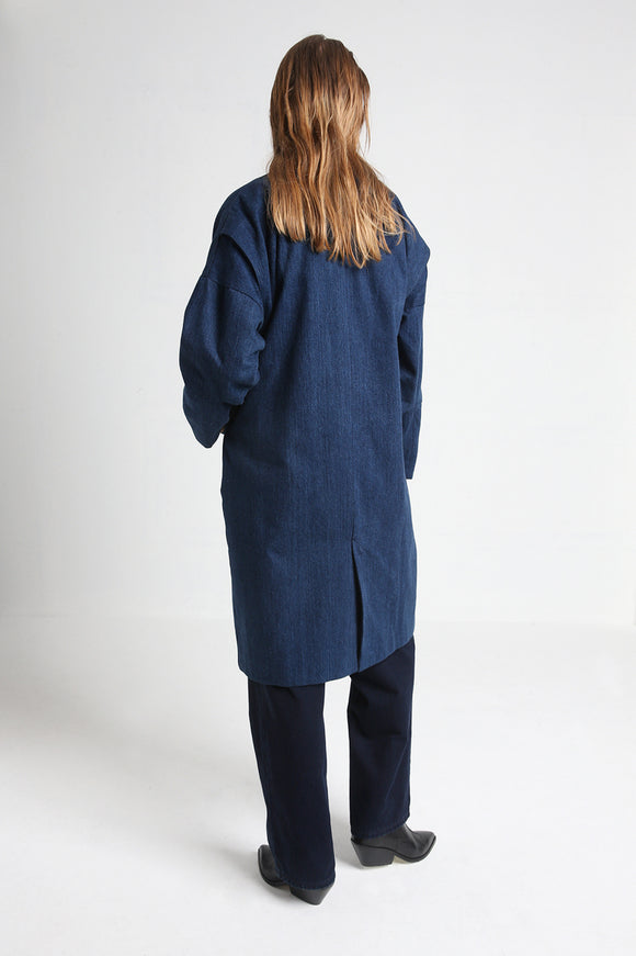MAGNOLIA long denim coat back