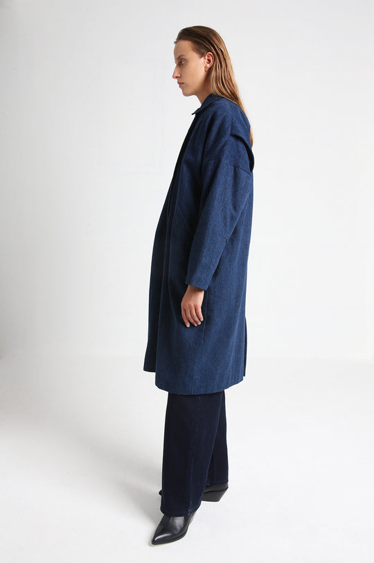 MAGNOLIA long denim coat aside