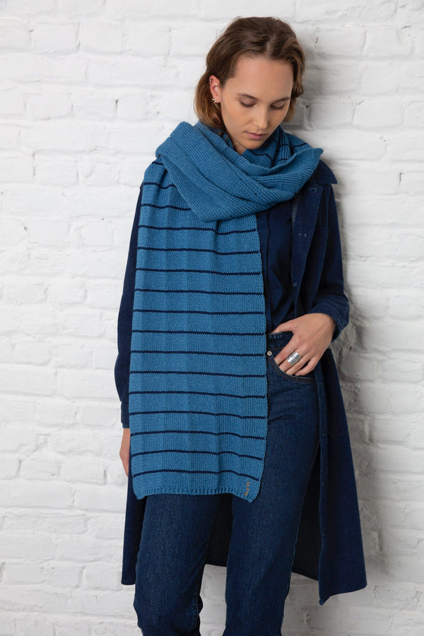malisse blue knitted scarf sustainable denim