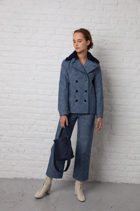 women's pea coat heather blue denim with knitted collar
