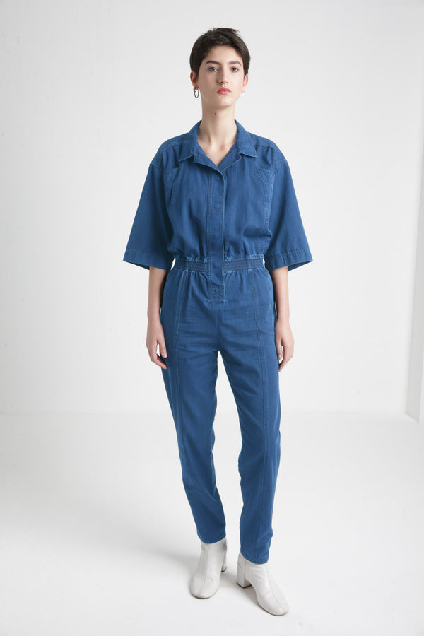 olga blue denim jumpsuit womens