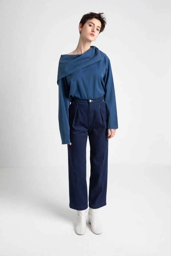 PATTI high waist denim pants indigo blue