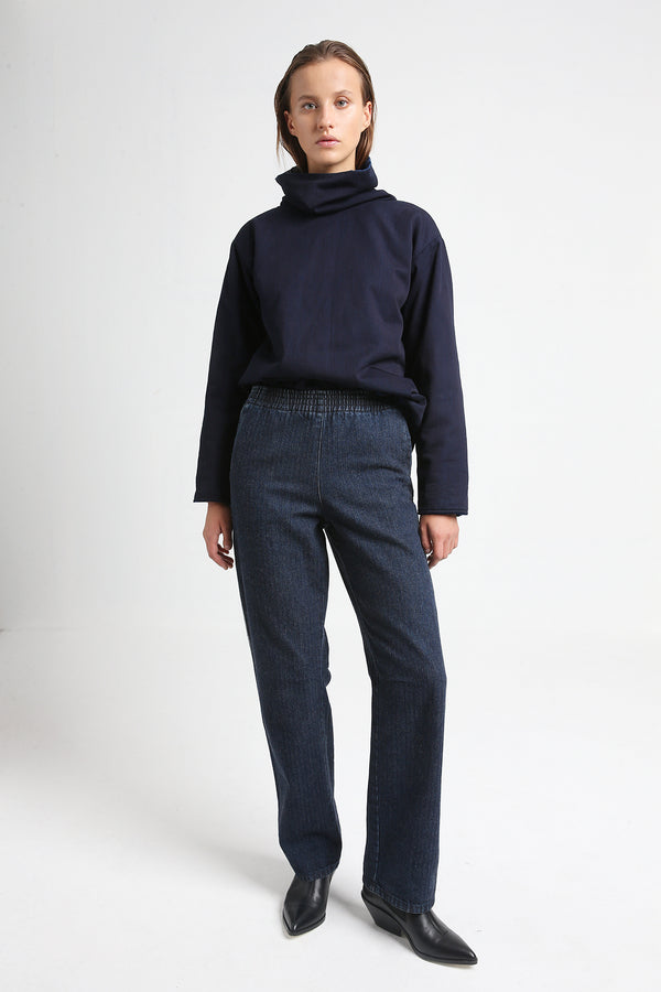 PIKE elastic indigo denim pants