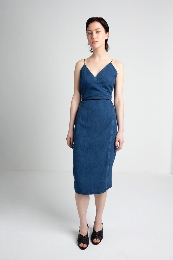 RIO denim wrap dress for women