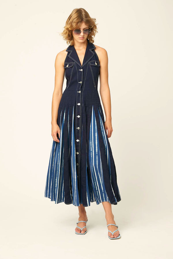 Roza dress indigo tie dye