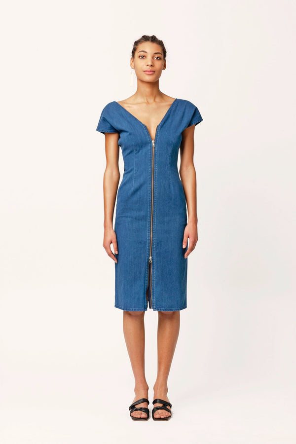 Ruby blue denim dress v collar zip