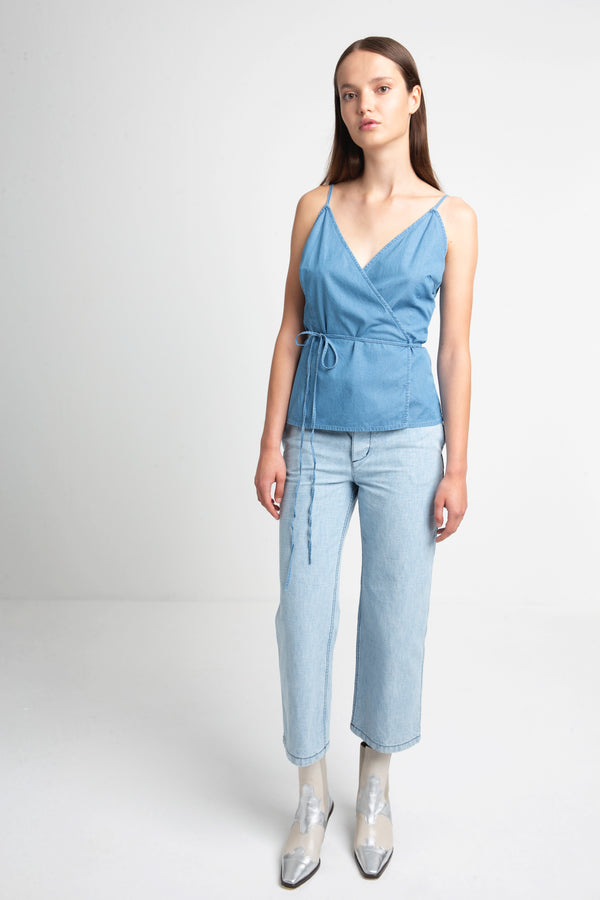 TEXAS denim wrap top for women