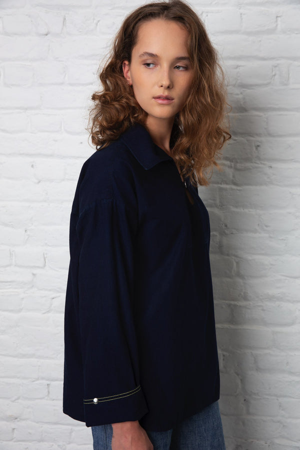 Vareuse dark blue shirt outfit ladies denim clothes store online
