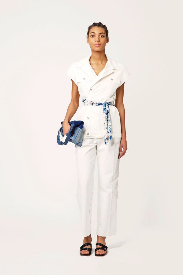 Viola white jeans shirt belted