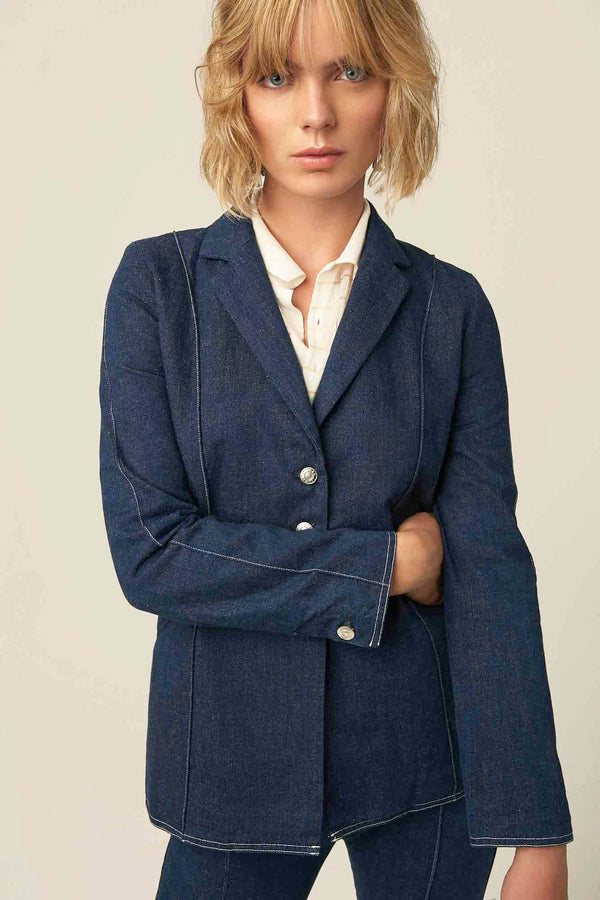 blue denim blazer jacket for women