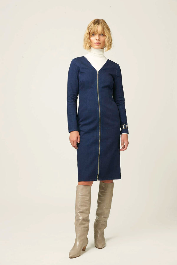 Womens denim dress dark blue winter autumn
