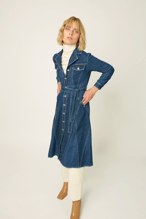 Dress outerwear dark blue denim winter autumn Paris Antwerp