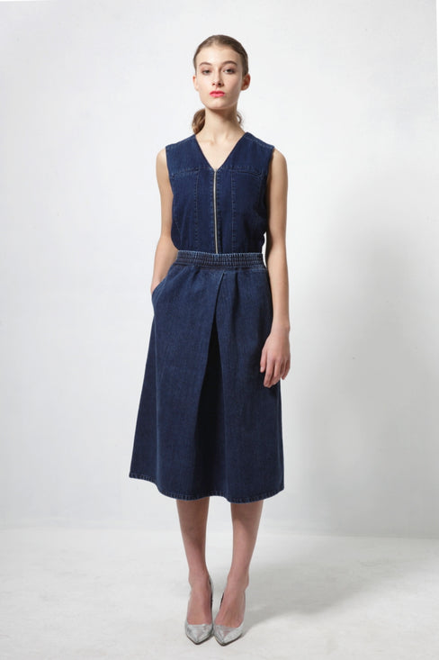 mid length denim JERRY skirt timeless design FAÇON JACMIN