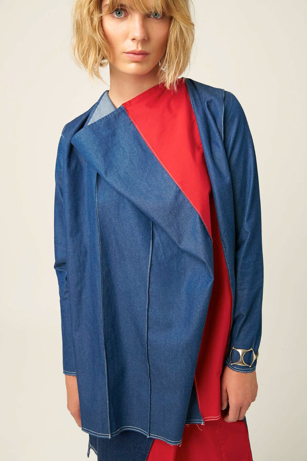 Womens cotton shirt red blue ample winter autumn