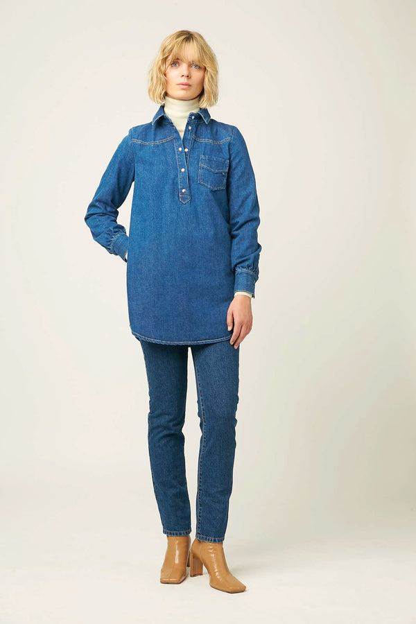 Womens denim tunic blue belgian designer