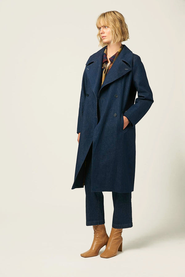 Long coat sustainable denim winter autumn belginan designer for women