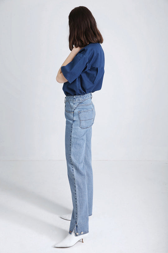POLA light blue Japanese denim jeans SS18 women's designs FAÇON JACMIN