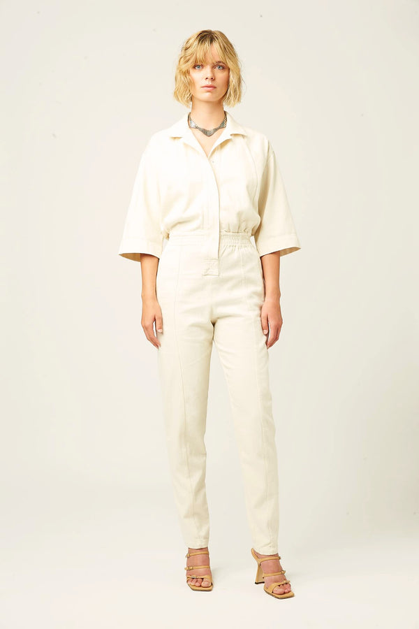Denim jumpsuit ecru white for women boxy shape winter autumn