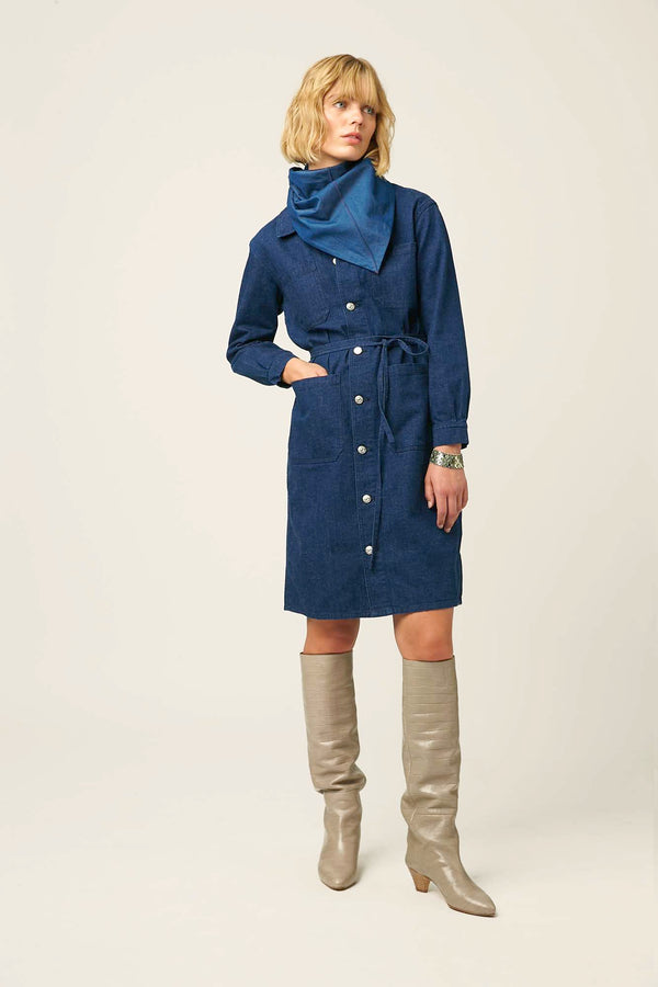 Denim dress for women workwear overcoat winter autumn