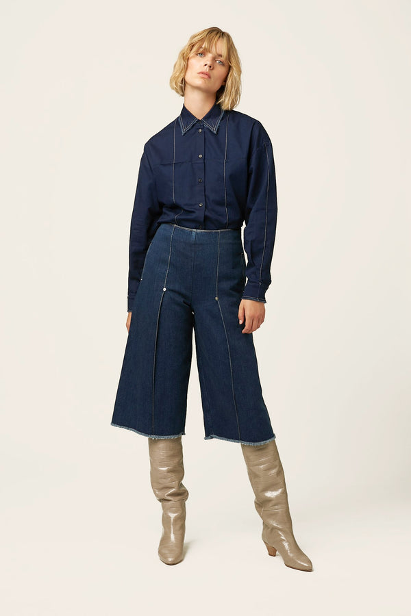 Organic denim culottes for women belgian designer