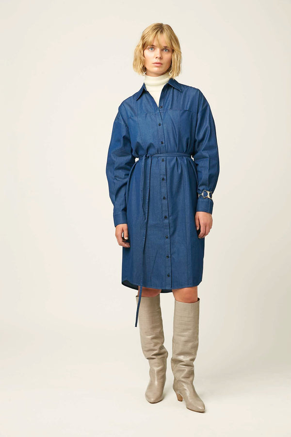 Womens overshirt dress blue cotton winter autumn